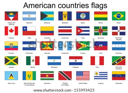 set of rectangle icons with flags of Americas #155993423