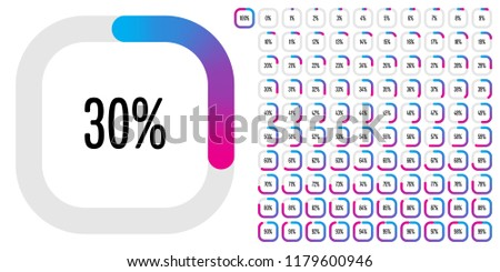 Set of rectangle percentage diagrams from 0 to 100 ready-to-use for web design, user interface (UI) or infographic - indicator with gradient from cyan (blue) to magenta (hot pink)