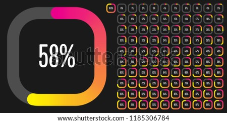 Set of rectangle percentage diagrams from 0 to 100 ready-to-use for web design, user interface (UI) or infographic - indicator with gradient from magenta (hot pink) to yellow