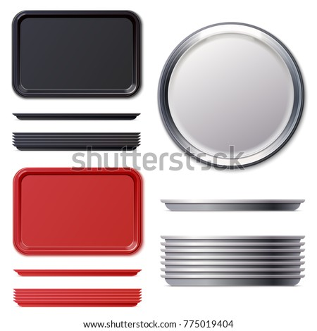Set of rectangular and circle red black plastic or metal tray salver. Vector illustration