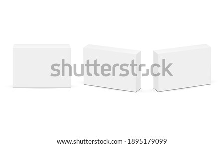 Set of Rectangular Boxes for Pills or Medicaments, Front and Side View, Isolated on White Background. Vector Illustration