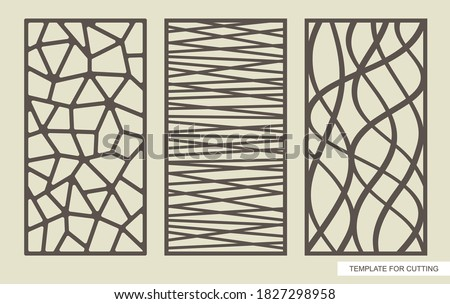 Set of rectangular panels with an abstract geometric pattern of straight and wavy lines. Template for plotter laser cutting (cnc), wood carving, metal engraving, paper cut. Vector illustration.  Foto d'archivio ©