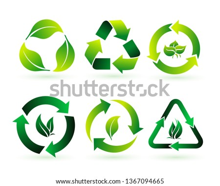 Set of recycle, biodegradable, and compostable concept of reduce reuse recycle concept. Recycled eco green icon. Easy to modify. Vector illustration. Isolated on white background.