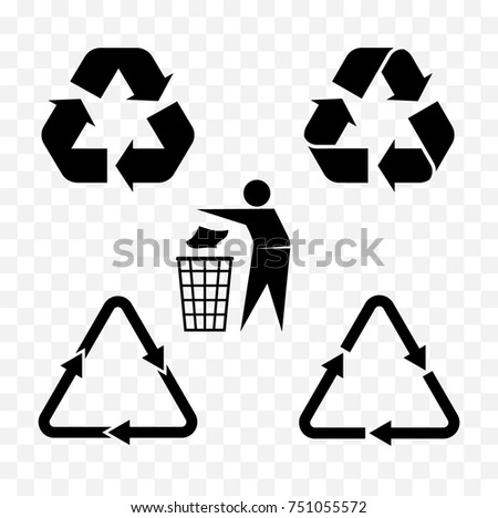 set of recycle icon for packing and package