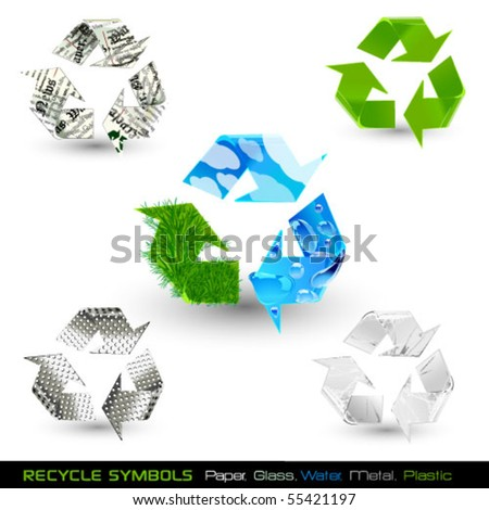 set of recycle symbols (paper, water, glass, plastic, metal)