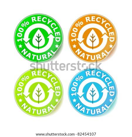 set of 100% recycled natural stickers
