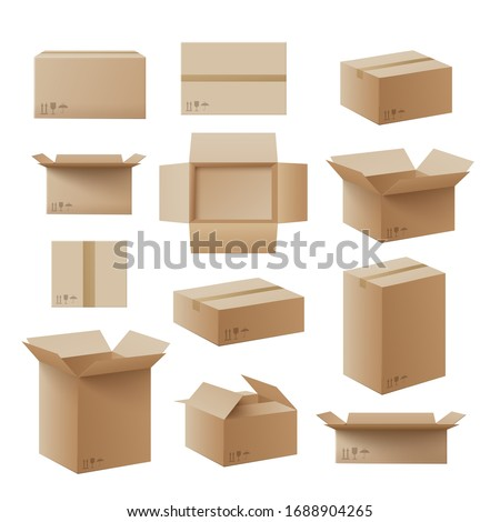 Set of recycling cardboard brown delivery boxes or postal parcel packaging, realistic vector illustration isolated on white background. Mail containers in various shapes.