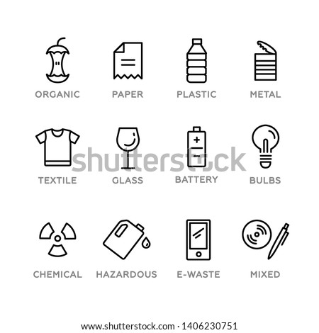 Set of recycling icons. Vector illustration, flat design, white isolated. Organic, paper, plastic, metal, textile, glass, battery, bulbs, chemical, hazardous, e-waste, mixed.