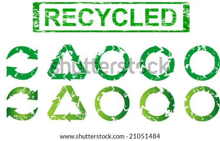 Set of recycling symbols - Rubber stamp vector