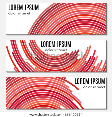 Stock Photo Set of red abstract header banners with curved lines and place for text. Vector backgrounds for web design.