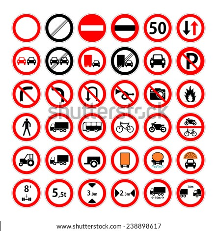 Set of red and black round road sign for car, lorry, pedestrian, bicycle and bike. Collection of prohibitory and forbidding traffic symbol. vector art image illustration, isolated on white background