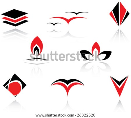 Set of red and black symbols or logo template. Jpeg version also available