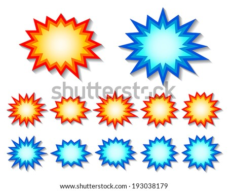 set of red and blue starburst speech bubbles. vector.
