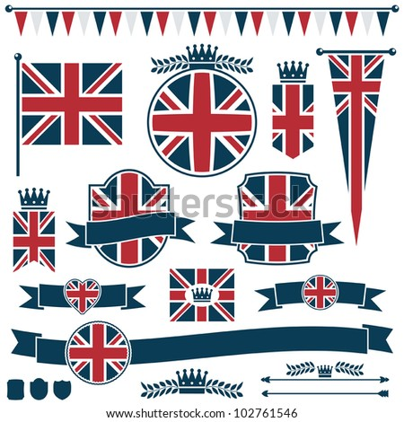 set of red and blue uk flags and ribbons, isolated on white - stock vector