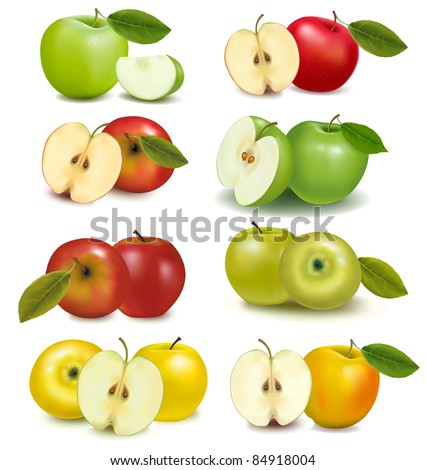 Set of red and green apple fruits with cut and green leaves. Vector illustration.