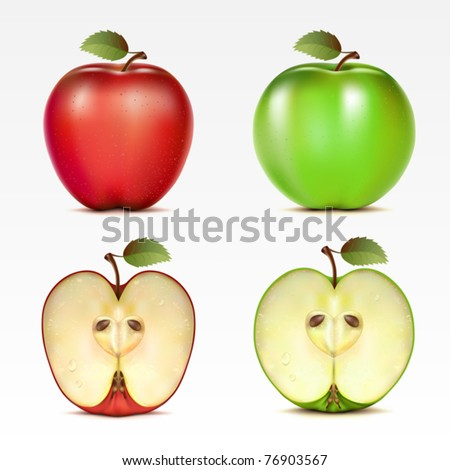 Set of red and green apples and their halves