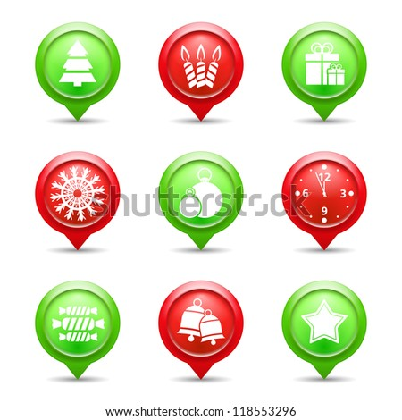 Set of red and green Christmas icons, vector eps10 illustration