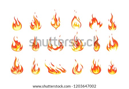 Set of red and orange fire flame. Collection of hot flaming element. Idea of energy and power. Isolated vector illustration