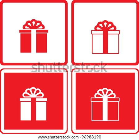 set of red and white gift box