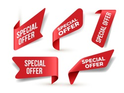 Set of red banner Special Offer. Flat design. Vector Illustration. Isolated on white background.