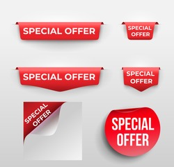 Set of red banner Special Offer. Vector illustration. Isolated on white background.