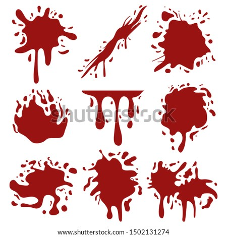set of red Blood or paint splash splatters spot stain blot patch liquid drop texture grunge dirty mark ornament vector.