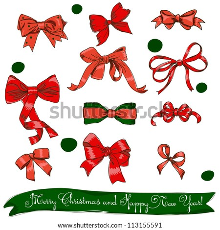 set of red bows. Vector illustration EPS8