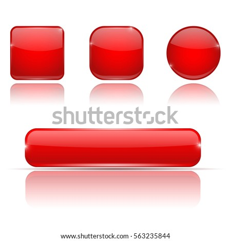 Set of red buttons. Web shiny 3d icons. Vector illustration on white background