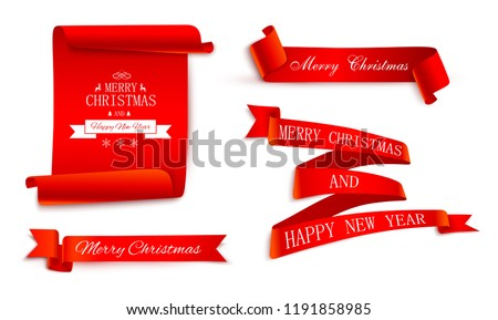Set of red Christmas and New Year festive satin ribbons and labels for festive decoration. Vector templates.
