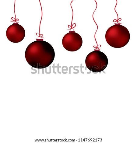 Set of red Christmas balls hanging on white background #1147692173