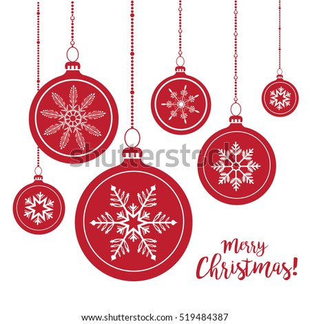 Set of red Christmas balls hanging on white background