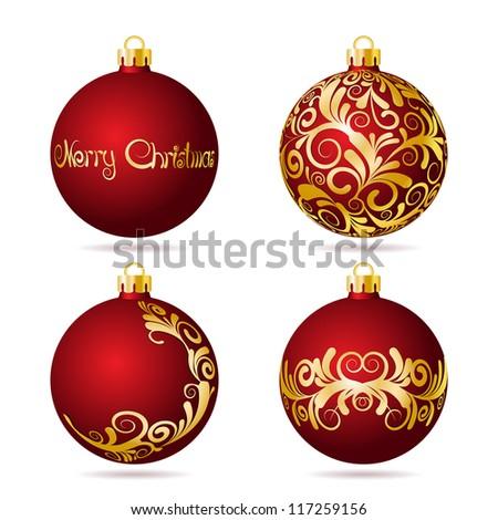 Set of Red Christmas balls on white background. Vector illustration.
