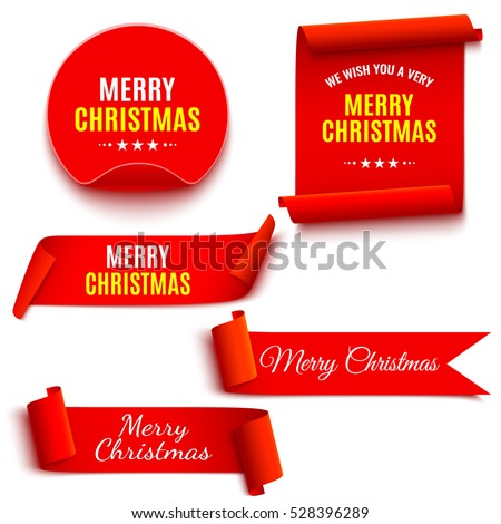 Set of red Christmas banners. Ribbons and round sticker. Paper scrolls. Vector illustration.