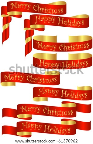 Set of Red Christmas Holiday Banners with Golden Accents