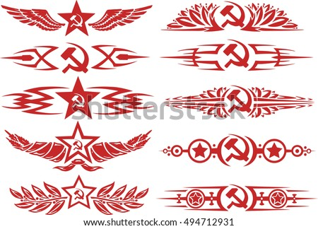 set of red color soviet