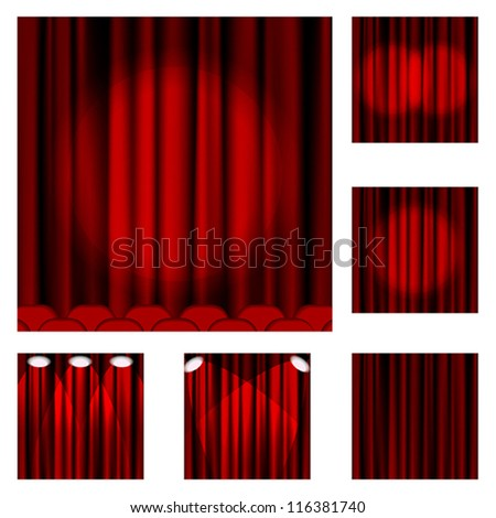 Set of red curtains to theater stage. Mesh.EPS10.Clipping Mask.This file contains transparency.