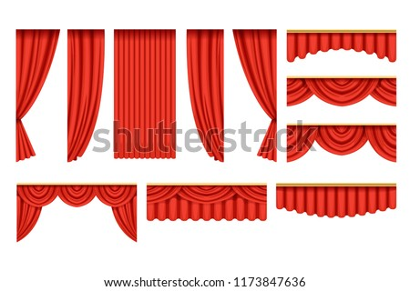 Set of red curtains with pelmets for theater stage