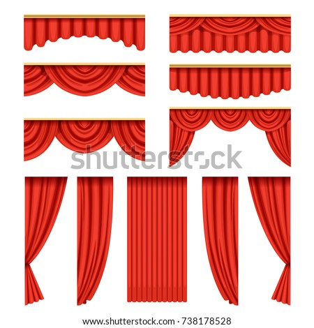 set of red curtains with