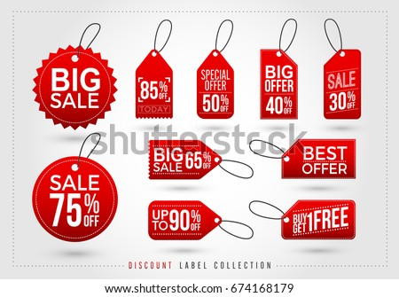 Set of red discount tags icon. big sale, special offer, big offer tag, Vector illustration style is flat iconic symbol, red color. Designed for websites and software interfaces