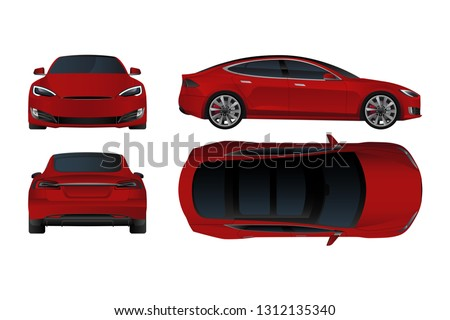 Set of red electric car in front, back, top and side view. Vector illustration EPS 10