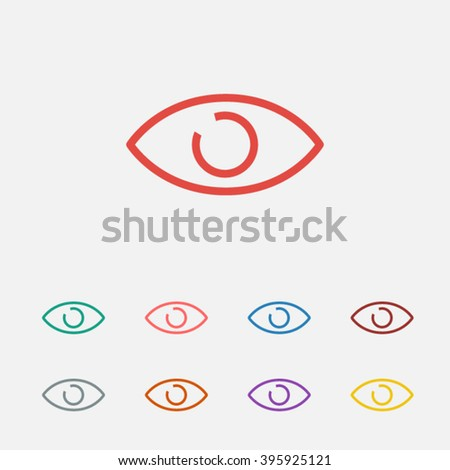 set of  red eye vector icon