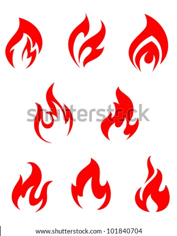 Set of red fire flames for warning symbols, such logo. Jpeg version also available in gallery