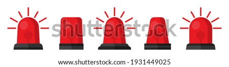 Set of red flasher siren in a flat design Stockfoto ©