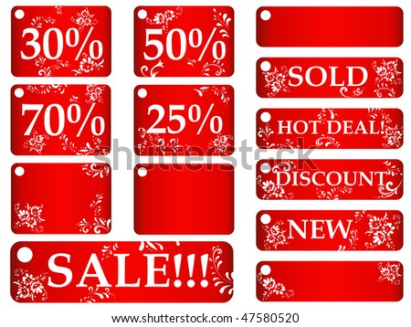 set of red floral sales tags against white background
