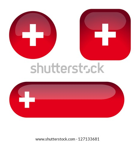 Set of red glass buttons with a plus sign