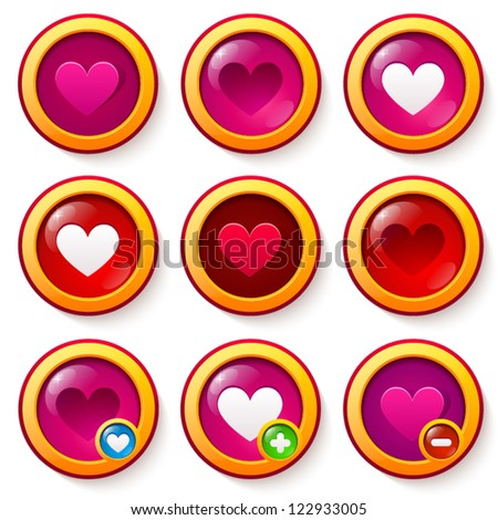 Set of red glass buttons with hearts, can be used as like symbols or for valentines design