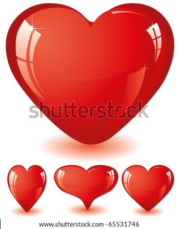 Set of red glitter shiny hearts, vector illustration