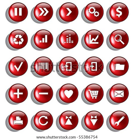 Set of red glossy buttons for web design on white background
