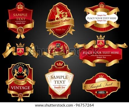Set of red gold-framed  labels. Vector illustration. All elements separately.