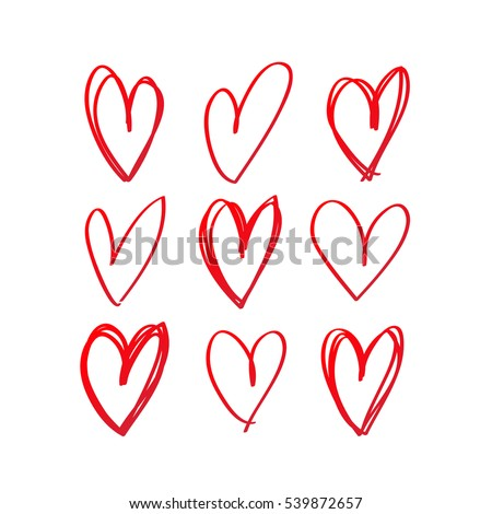 Set of red hand drawn heart. Handdrawn rough marker hearts isolated on white background. Vector illustration for your graphic design.